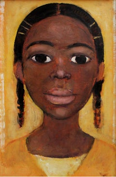 Portrait - XX century, Oil figurative painting, Yellow