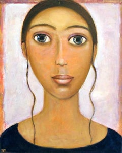 A girl - XXI century, Oil figurative painting, Portrait