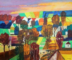 Colourful fields - XXI century, Oil landscape painting, Bright