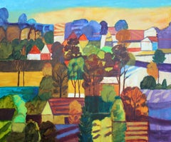 Light in the valley - XXI century, Oil landscape painting, Colourful