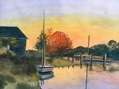 Hart Harbor Sailboat, Painting, Watercolor on Paper