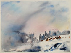 Original watercolor of a mountain landscape., Painting, Watercolor on Paper