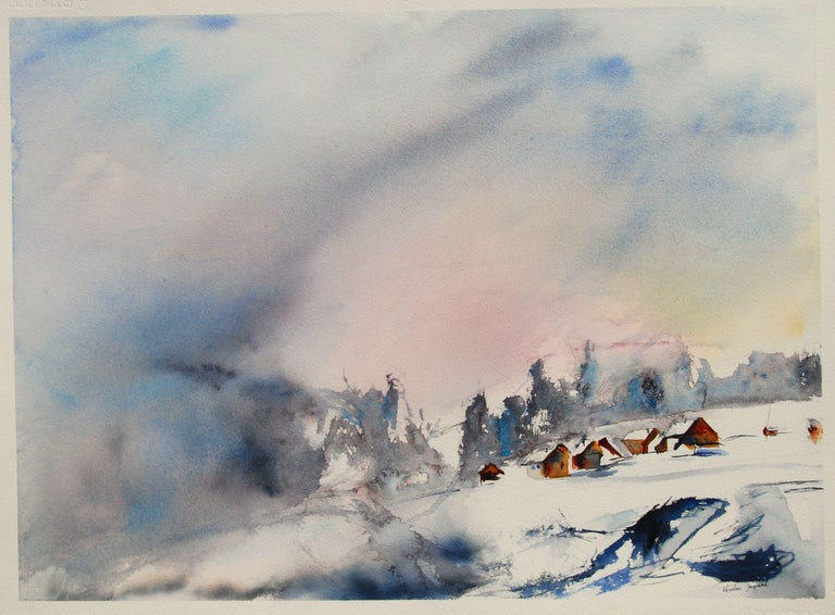 Original watercolor of a mountain landscape., Painting, Watercolor on Paper - Art by Christine Jacquel