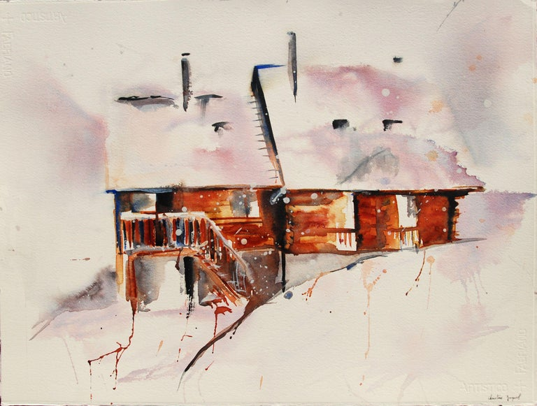 Watercolor of a mountain chalet under the snow., Painting, Watercolor on Paper - Art by Christine Jacquel