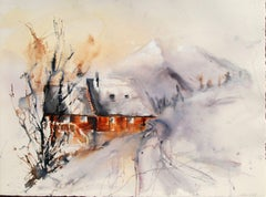 Original watercolor of a cottage in winter montage, Painting,Watercolor on Paper
