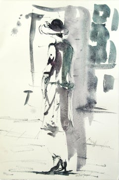 Original watercolor of a woman with a hat., Painting, Watercolor on Paper