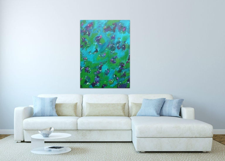 Dream Sequence, Painting, Acrylic on Canvas - Blue Abstract Painting by Angela Dierks