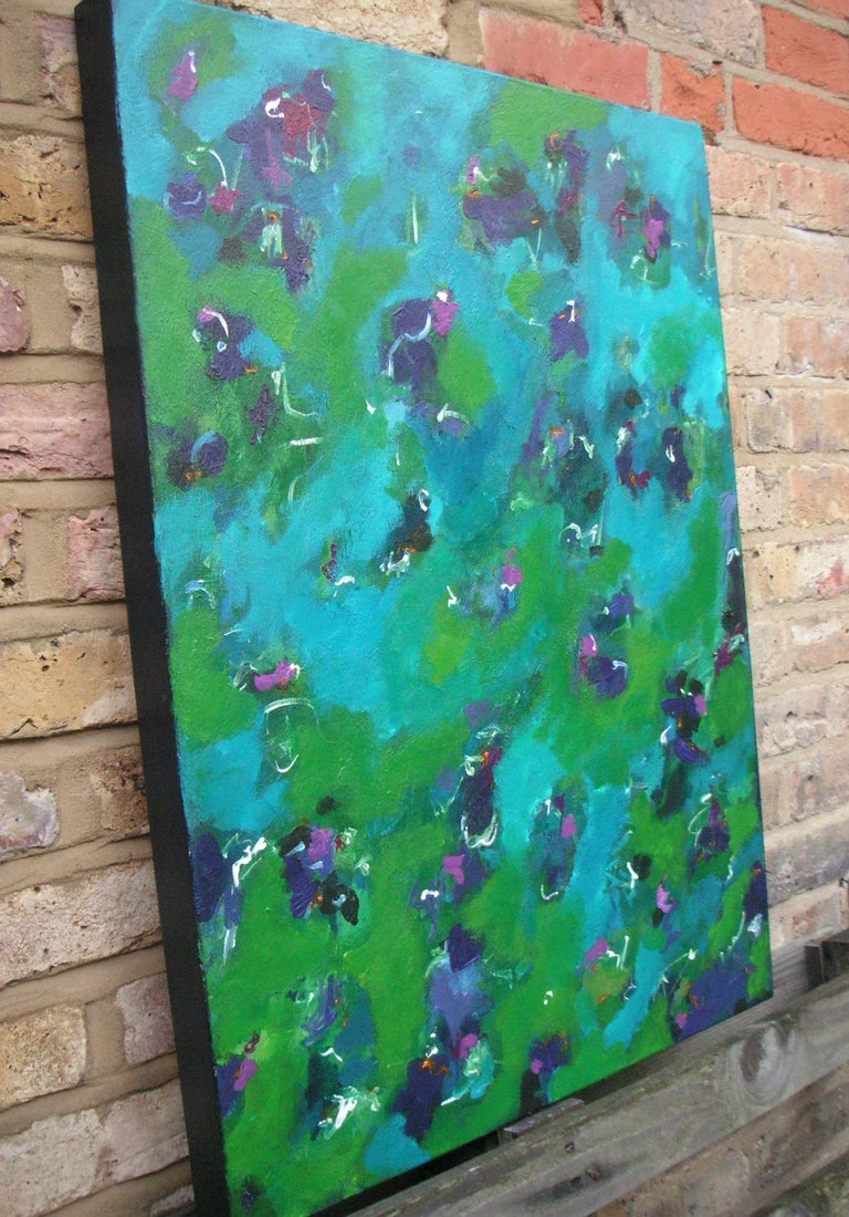 A vibrant abstract painting which I have worked on for quite some time building the painting carefully layer by layer. Strong blues, purples, greens, orange and magenta combine to a colourful, abstract painting inspired by a reflective mood.     The