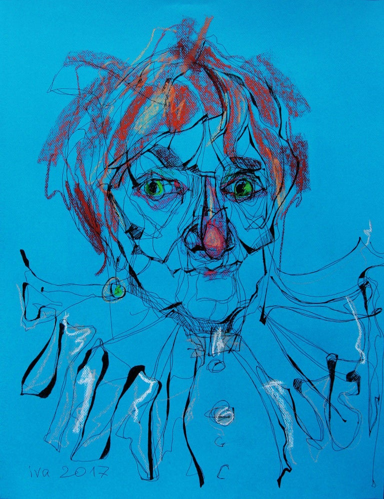 Red-haired Old Lady, Drawing, Pen & Ink on Paper - Art by Tatiana Ivchenkova