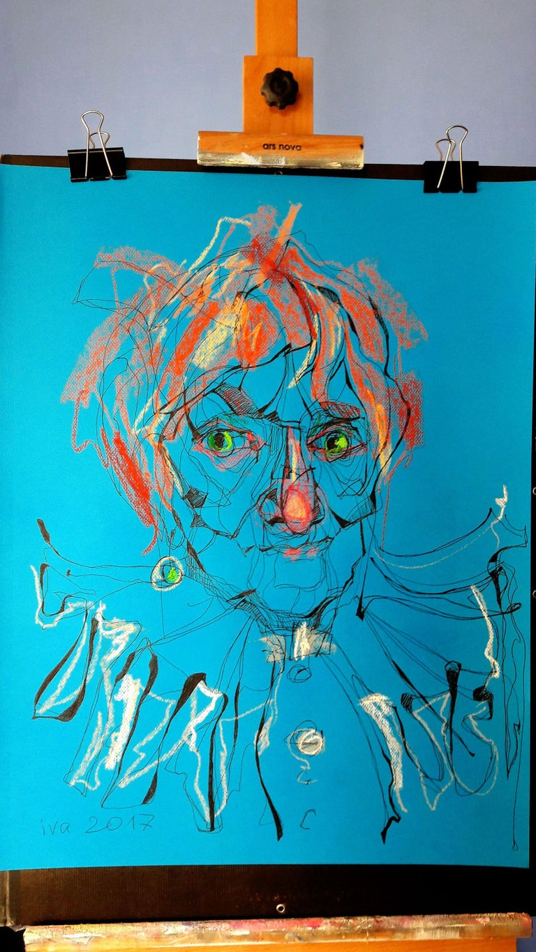 Red-haired Old Lady, Drawing, Pen & Ink on Paper - Contemporary Art by Tatiana Ivchenkova