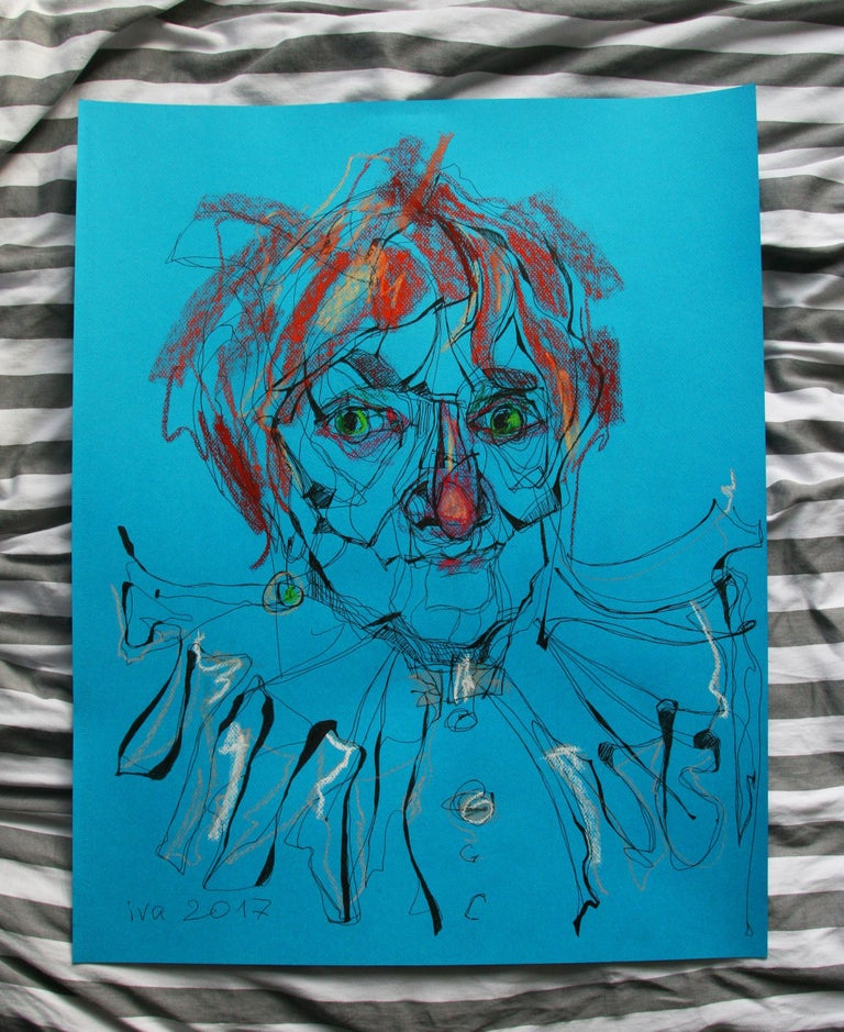 Original funny portrait of a red-haired old lady, 65x50 cm, pastel and ink on Canson paper, 2017 :: Drawing :: Contemporary :: This piece comes with an official certificate of authenticity signed by the artist :: Ready to Hang: No :: Signed: Yes ::