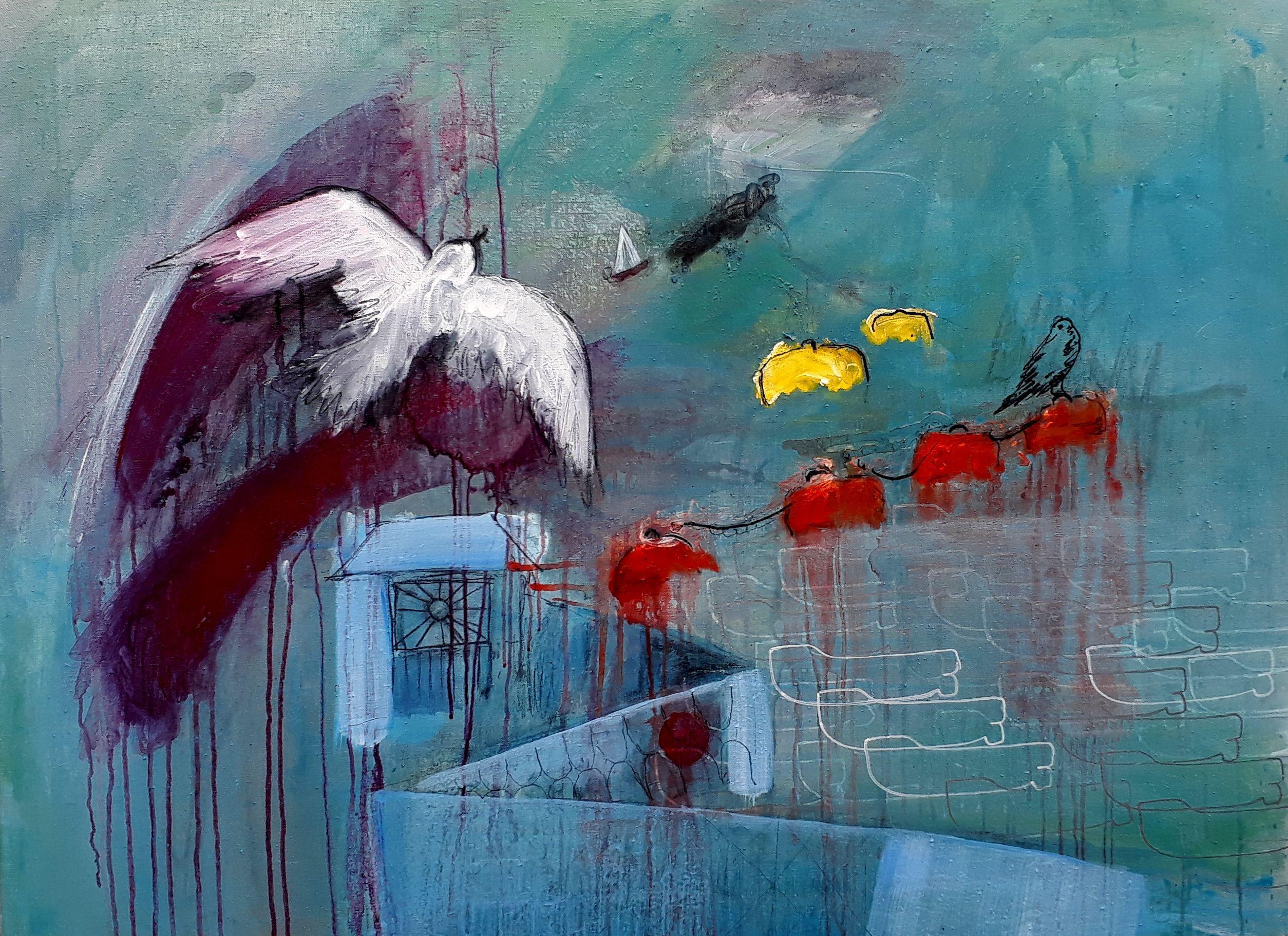 Leaving Harbour, Bon Voyage, Sun Pier, Painting, Acrylic on Canvas