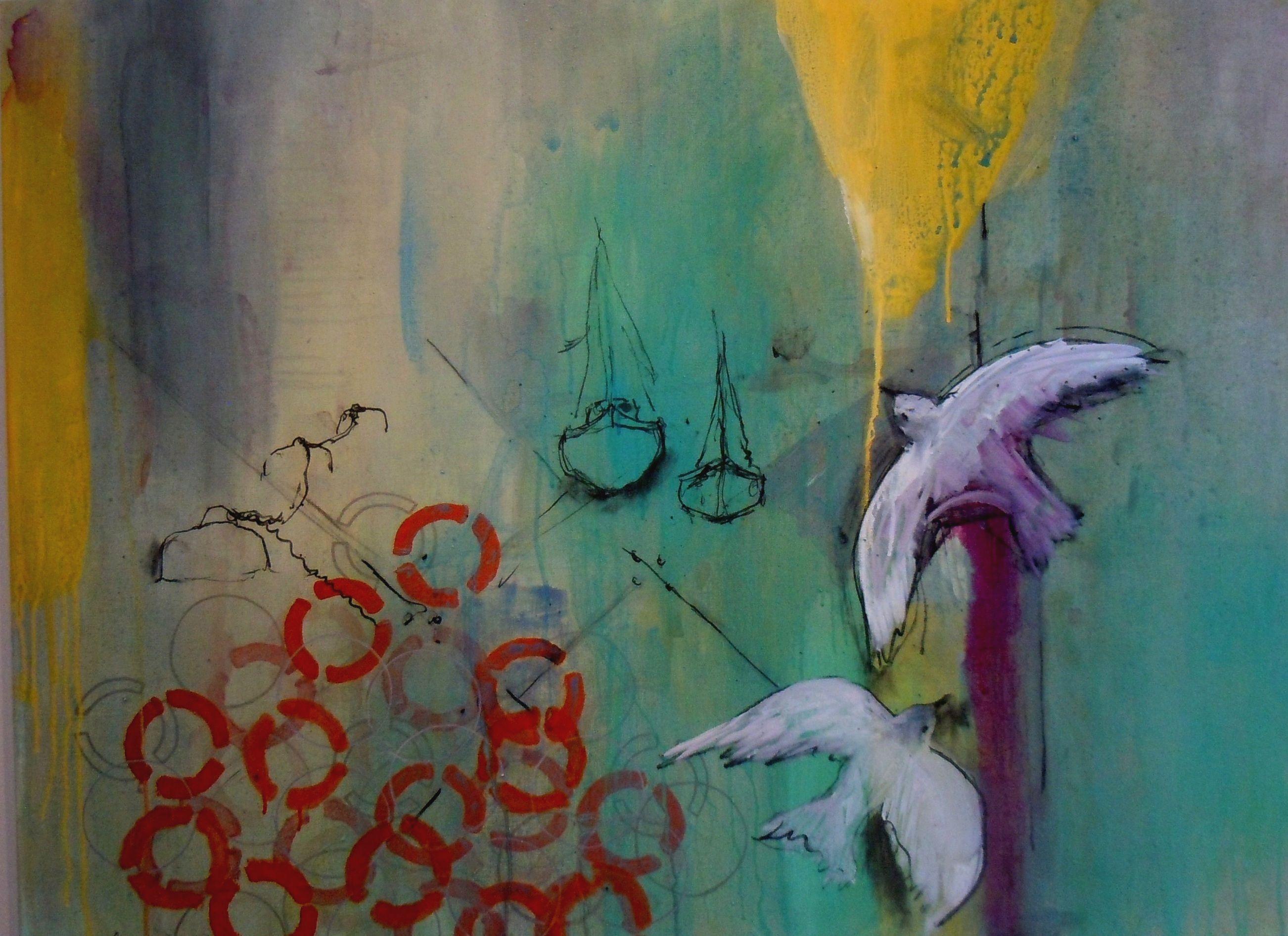 Gathering Momentum, Sun Pier, Painting, Acrylic on Canvas