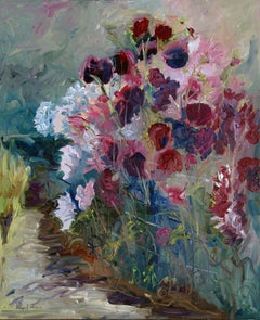 Original oil painting of purple and pink flowers, Painting, Oil on Canvas
