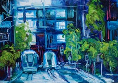 Original oil painting of a blue and green city, Painting, Oil on Canvas