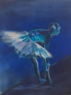 Ballerina in Blue, Painting, Watercolor on Watercolor Paper
