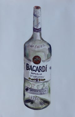 Bacardi Bottle, Painting, Watercolor on Watercolor Paper