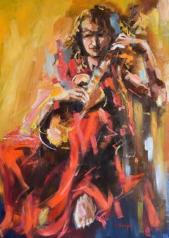 Guitarist, Painting, Oil on Canvas