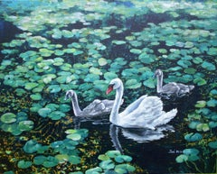 Swan and Cygnets, Painting, Acrylic on Canvas