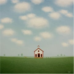 The Old White Schoolhouse, Painting, Acrylic on Canvas