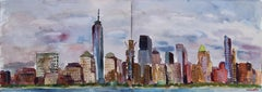 New York Skyline from Jersey City, Painting, Watercolor on Watercolor Paper