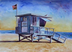 Lifeguard tower Zuma Beach, Painting, Watercolor on Watercolor Paper
