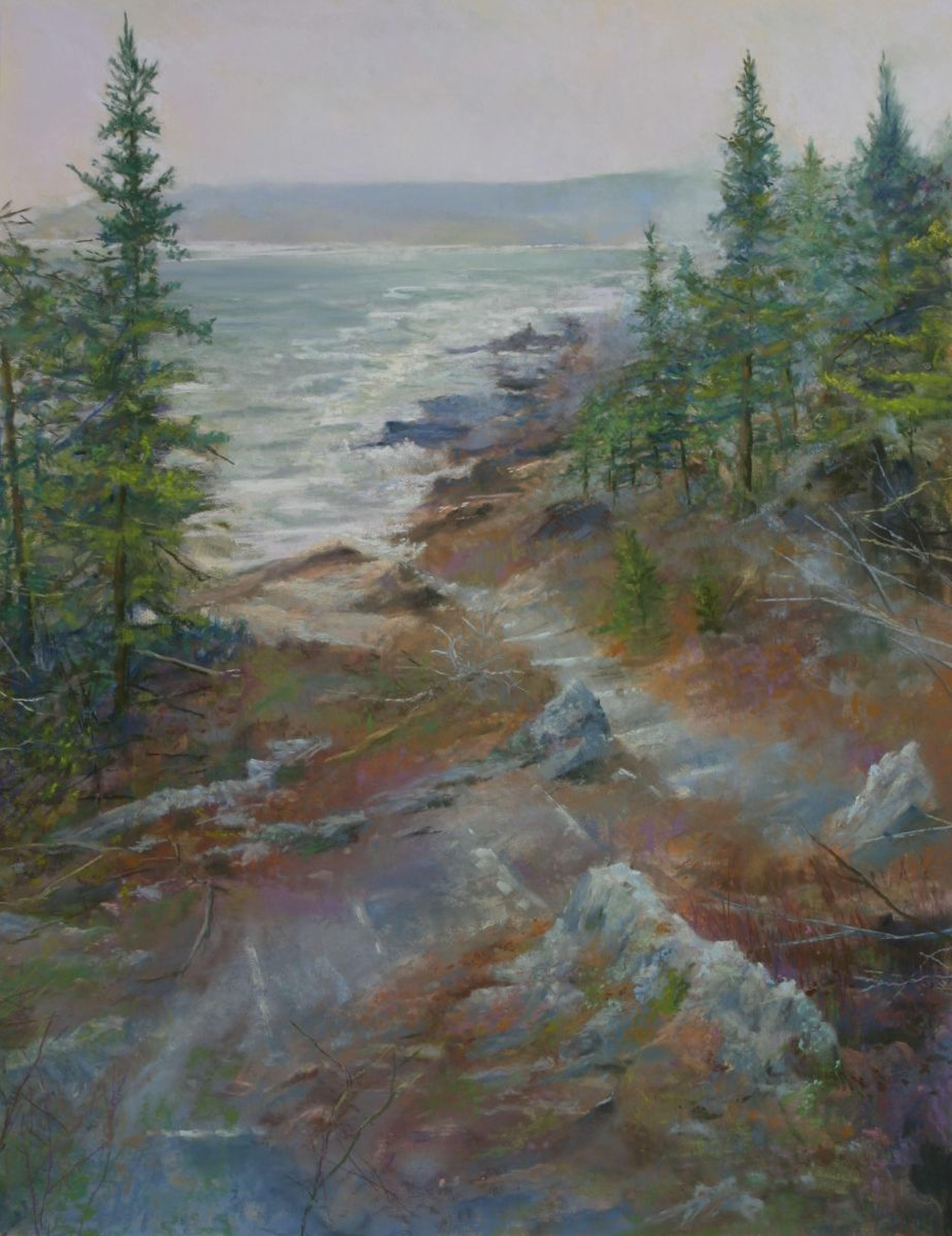 Stairway to Thunder Hole, Drawing, Pastels on Pastel Sandpaper