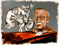 Stan Lee, Drawing, Pen & Ink on Paper