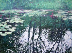 Lily Pond Reflections, Painting, Oil on Canvas