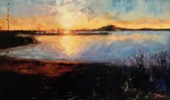 Sunset at Rye Beach, Painting, Oil on Canvas