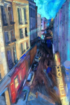 Hotel Paris, Drawing, Pastels on Wood Panel