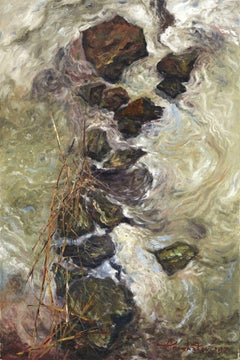 Small Creek Stream, Painting, Oil on Canvas