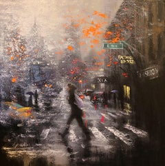 Rainy Day Walkers at 18th Street, Painting, Oil on Canvas