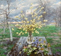 Still Life with Catkins and Snowdrops, Painting, Oil on Canvas