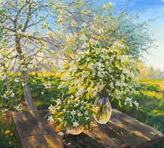 Still Life with Bird Cherry, Painting, Oil on Canvas