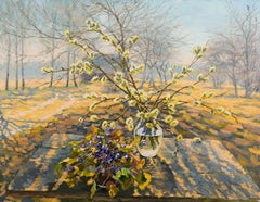 Catkins and Snowdrops, Painting, Oil on Canvas