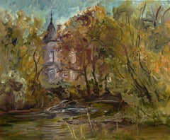 Oil painting of a castle in autumn France, Painting, Oil on Canvas
