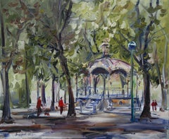 Oil painting of a bandstand in a public park, Painting, Oil on Canvas