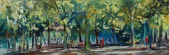 Outdoor oil of a public garden in France, Painting, Oil on Canvas