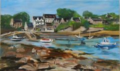 Oil painting of a small Breton harbor at low tide, Painting, Oil on Canvas