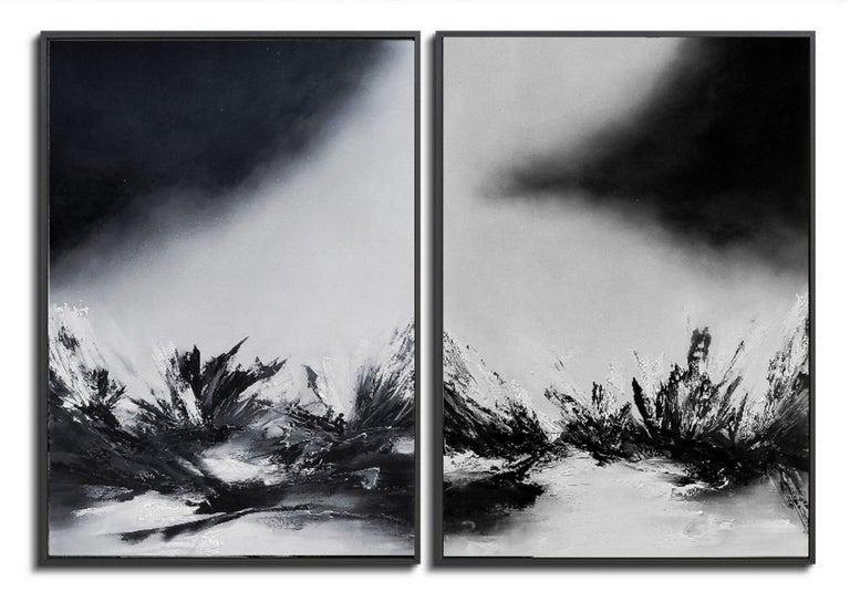 Olena Topliss Black And White Monochrome Landscape Painting Oil