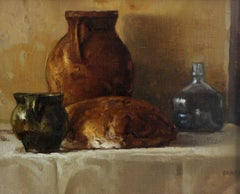 Still life with bottles - XXI century, Oil figurative painting, Grey and brown