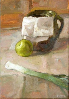 Still life with a leek - XXI century, Oil figurative painting, Brown tones