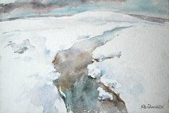 Snow - XXI century, Watercolour landscape, Figurative