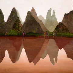 Meeting near Yangshuo XXI century Oil figurative painting Colourful Landscape