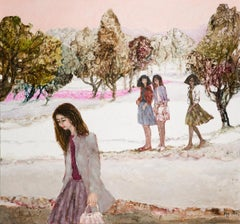Wintertime walk - XXI century, Oil figurative painting, Colourful, Landscape