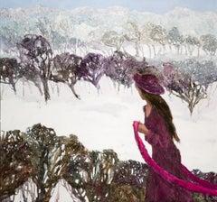 Wintertime longing - XXI century, Oil figurative painting, Colourful, Landscape