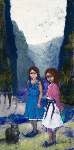Sisters with a cat - XXI century, Oil figurative painting, Colourful, Landscape