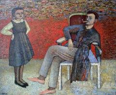 Balthus in an armchair - XX century, Oil figurative painting, Interior