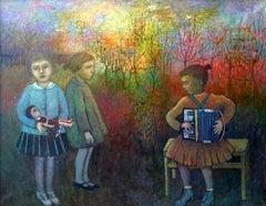 Children in a garden - XX century, Oil figurative painting, Landscape